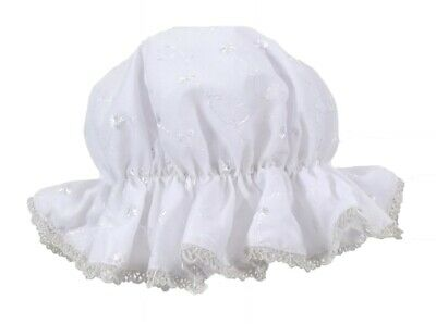 Baby Girls White Broderie Anglaise Mop Hat 0-9 Mth (One Size) Summer Sun Hat
