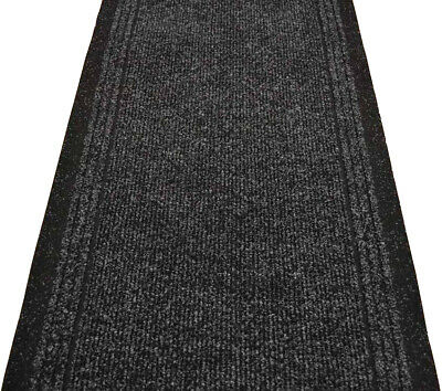 Black Hard Wearing Rug Industrial Non Slip Hall Kitchen Runner Made to Measure