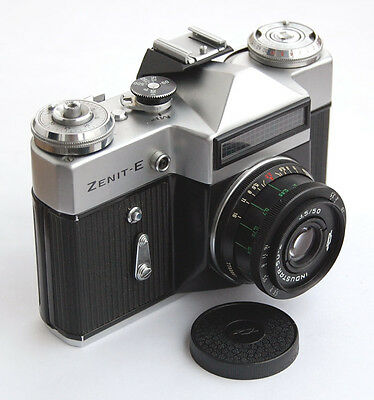 Camera Zenit-E + Industar 50-2 lens. Russian Vintage Rare SLR 35mm Camera USSR
