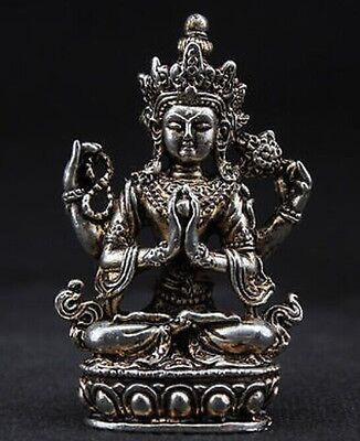 SUPERB TIBET DECORATED HANDWORK OLD MIAO SILVER CARVED BUDDHA WONDERFUL STATUE