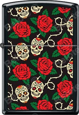 Zippo Sugar Skulls On Vine With Red Roses Black Matte WindProof Lighter NEW