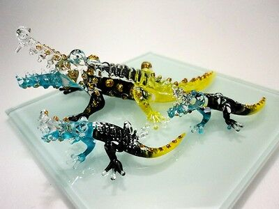 CROCODILE FAMILY HAND PAINT GREEN BLOWN GLASS ART FIGURINE MINIATURE COLLECT