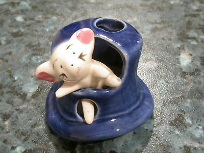 VINTAGE MOUSE IN A TOP HAT CERAMIC ORNAMENT RETRO KITSCH COLLECTABLE
