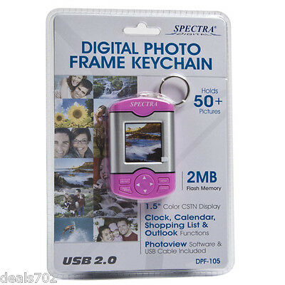 PINK COLOR -  NEW SPECTRA 1.5in LCD KEYCHAIN DIGITAL PHOTO FRAME - FUN GIFT