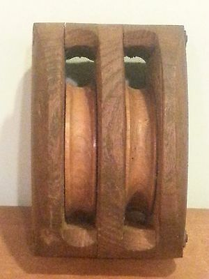 Antique Primitive Wooden Nautical Ship Sail Block and Tackle Pulley
