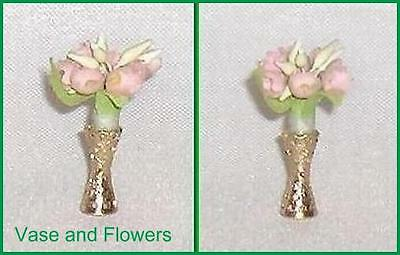 Metal Flower Vase with Pink Fabric Flowers Ideal Petite Princess Accessory Item