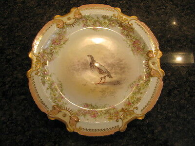 Outstanding Antique Limoges Hand Painted Game Bird Plate - Gold Gilt (1 of 3)