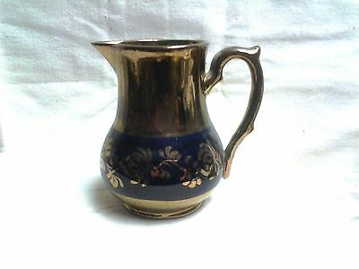 Antique Copper Luster Creamer BLUE Floral Band Creamer PITCHER Made In England