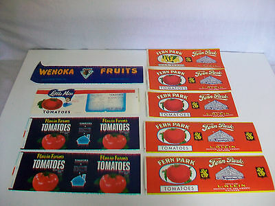 Lot 9 Vintage Unused Paper Advertising Labels Fern Park Little Miss Flavia Farms