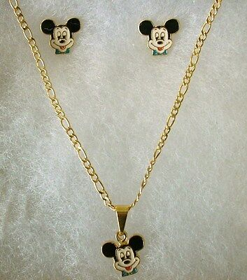 DISNEY CLASSIC18K GOLD Filled Girls MICKEY MOUSE 3pc NECKLACE EARRINGS Gift Set