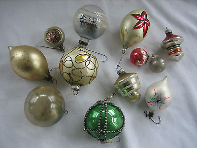 12 Vintage Glass Christmas Ornaments - Mercury Beads, Frosted, Unusual Shapes