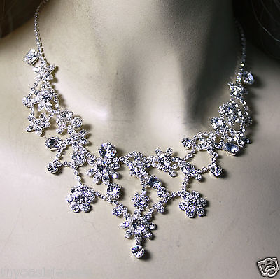 Rhinestone Choker Necklace Earring Floral Prom Pageant Bridal Austrian Crystal