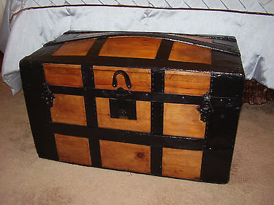 Antique Steamer Trunk, Dome Top. Fully Refinished, ca 1870