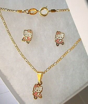 18K GOLD Filled Classic HELLO KITTY BALLERINA 3pc Girls NECKLACE & EARRINGS Set