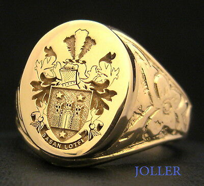 ANTIQUE SIGNET RING 18x15 XL 18KT SOLID GOLD YOUR FAMILY CREST CUSTOM ENGRAVED