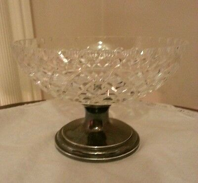 Gorgeous Antique Hawkes AB Cut Crystal & Sterling Compote Bowl 32 PWTS/Signed