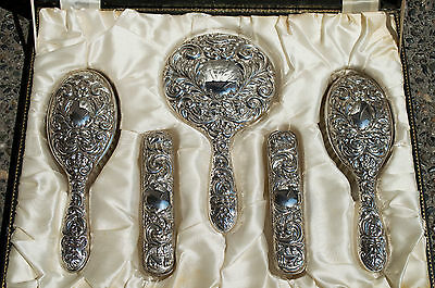 Antique Sterling Silver English Viking Repousse Vanity / Grooming 5 Piece Set NR