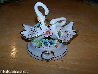 A. Calle signed Capodimonte Swans in Love made in Italy