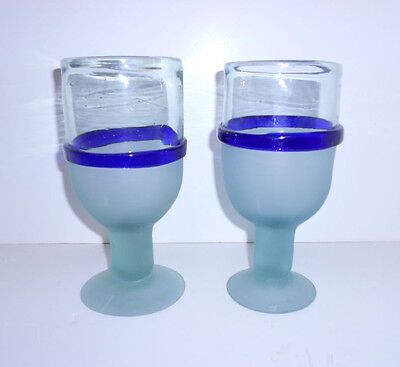 Set of 2 Cobalt Blue & Frosted White Mexican Hand Blown WINE Glass Goblets EUC!
