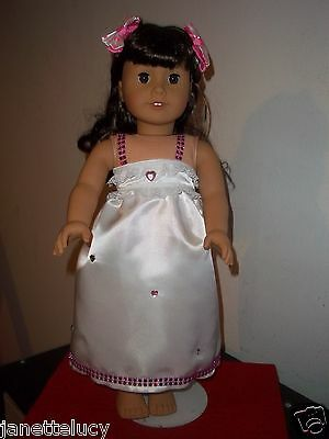 "18"" doll clothes fit american girl, white and pink satin dress set"