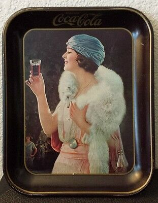 Vintage Tin Coca Cola Lady Drinking Coke Serving Tray Advertising