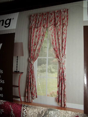 S/2 True Living Panels Curtains Drapes Drapery 56x84 Flower 5 Pcs Set & Valance