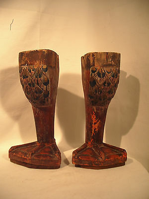 Primitive FOLK ART Wood DUCK Feet Hand Carved Great Patina Large & Unique