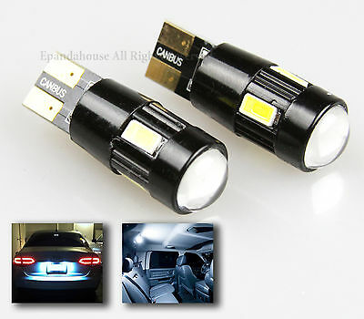 NEWEST!! 2PC JDM 7000K WHITE 6-LED 5630 SMD T10 194 168 W5W PROJECTOR LENS BULBS