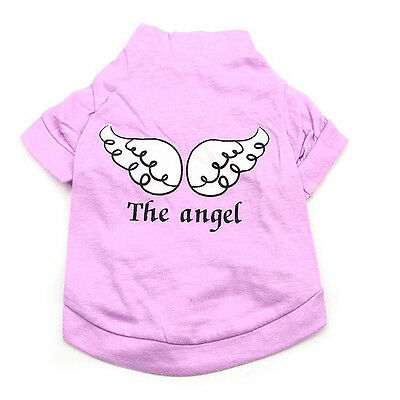 B Pet Dog Clothes purple T Shirt Vest angel wing Type size L