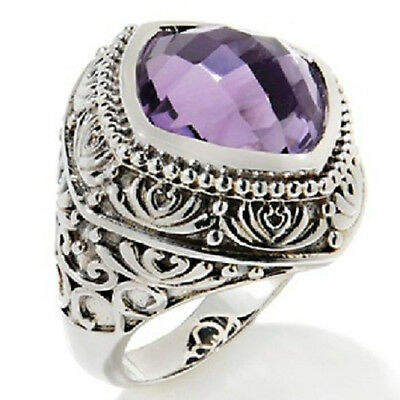 Hilary Joy 6ct Checkerboard Lilac Amethyst Sterling Silver Ring - Size 6