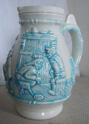 VTG Holland Mold Art Pottery Large Stein/ Pitcher 3-D Graphic Artist signed