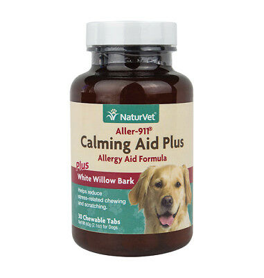 NaturVet ALLER-911 Calming Aid Plus Allergy Skin and Coat Dog Tablets - 30