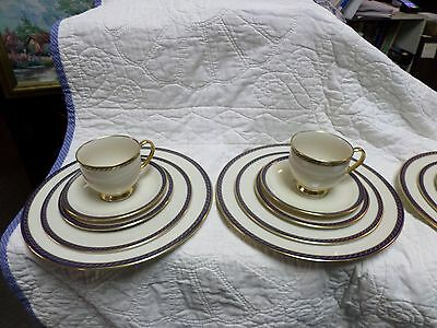 LENOX HAMILTON CHINA 4-5PC PLACE SETTING 20 TOAL PIECES VERY NICE  NAVY W/GOLD
