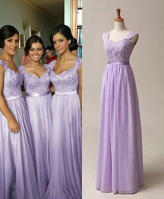 New Women Bridesmaid Dresses Evening Wedding Party Prom Formal Gowns US 4-14