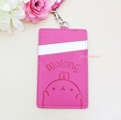 Molang Lovely Cute rabbit Bunny Hotpink Necklace Card Case Card Wallet