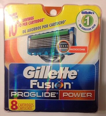 Gillette Fusion Proglide Power Pack 8 Refill Cartridges Blades,Razors 1 Day Only