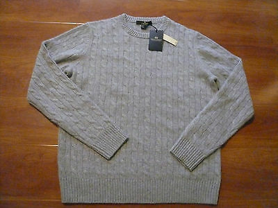 NWT DANIEL BISHOP 100% CASHMERE GRAY SWEATER SZ L