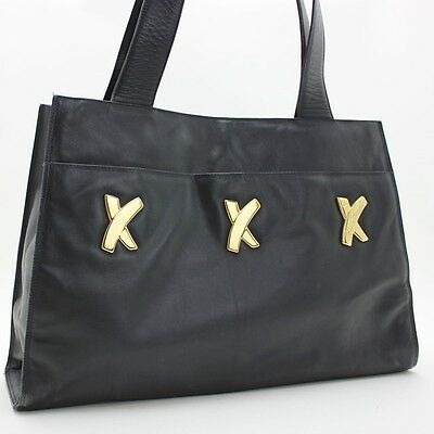 Auth 100% Paloma Picasso Kiss Leather Tote Bag Black/Gold Vintage (016202)
