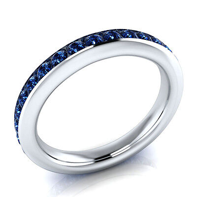 Sterling Silver 2.22 ct Round Cut Blue Sapphire Anniversary Band Ring Size 7