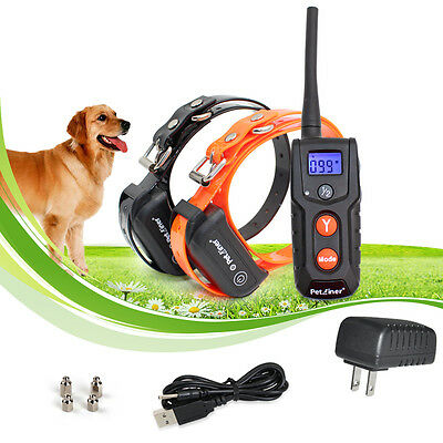 330 Yards Rechargeable Remote 100lvs Shock 2 Dog Training Pet No Bark Collar