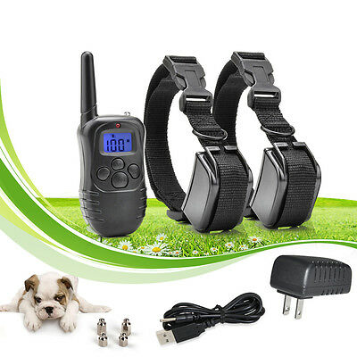 330 Yard Waterproof Rechargeable Pet Dog Remote Shock Training Collar for 2 dogs