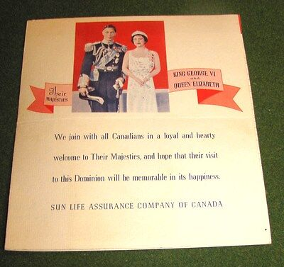 1939 Visit Canada of King George VI & Queen Elizabeth MAP TIME TABLE PAMPHLET