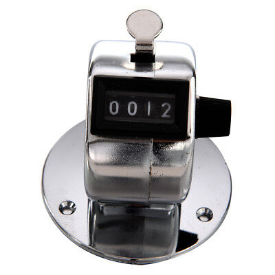 Round Base 4 Digit Manual Hand Tally Mechanical Palm Click Counter WS