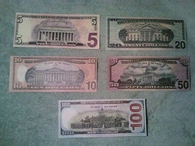 Large size mixed lot of 5 US Specimen paper money notes rare $5 $10 $20 $50 $100
