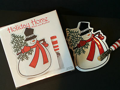 New in Box FITZ AND FLOYD Holiday Home Snowman Snack Plate Candy Cane Spreader