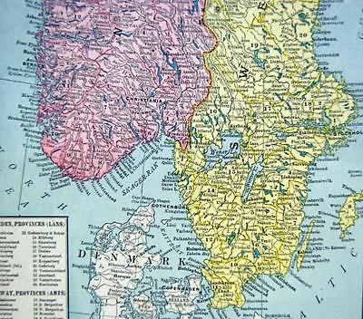 Norway Sweden Russia  Atlas Map Page 1916 Wwii Vintage Rand Mcnally