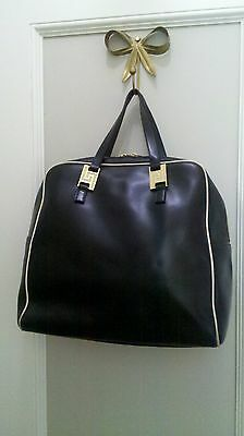 AUTHENTIC GIANNI VERSACE Large Vintage Leather Tote and or Bowling Bag