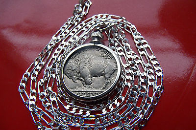"ANTIQUE  FULL HORN Buffalo Nickel Bezel on a  30"" 925 Sterling Silver Chain!"