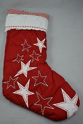 "Pottery Barn Classic Star Quilted Stocking Red Gingham 20""L"
