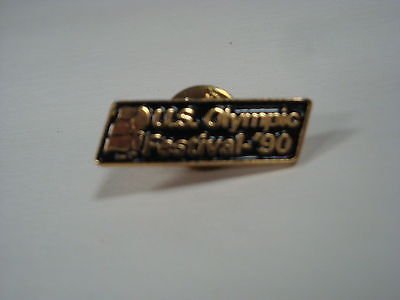 """1990 U.S. Olympic Festival Pin - Twin Cities -Black Background - 1.125"""" x .3125"""""""